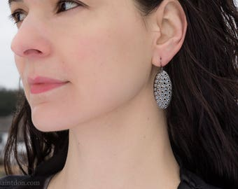 Sterling silver dangle earrings/ Unique hand made jewelry/ Perforated silver ovals/ Light weight modern minimalist earrings/ EPVAT-38mm tall