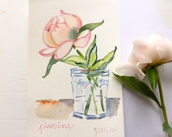 Original watercolor; peony Bonne Maman #1