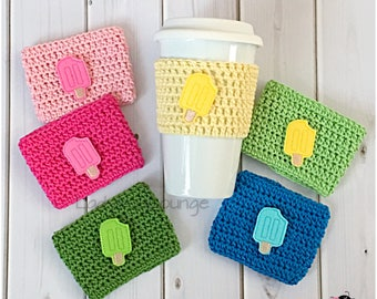 Coffee Cup Cozy. Colorful Popsicle Cup Cozy. Beach Coffee Cozy. Summer Picnic Party Favor. Kids Birthday Party favor. Gift under 10.
