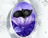 Purple Framed Cat Ornament // Cat Sleeping in Rose Ornament // Royal Daydreams