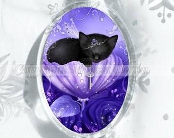 Purple Framed Cat Ornament // Cat Sleeping in Rose Ornament // Royal Daydreams