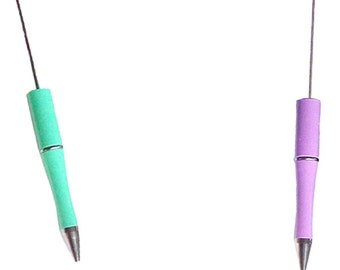 MERZIEs beadable U PICK light green lavendar color blank PEN add-a-bead interchangeable removable for large hole beads - SHIPs from USA