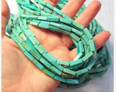 Natural Turquoise Beads Campitos Mine, Natural Robins Egg Blue Turquoise, 13mm x 4mm Cylinder Barrel Beads