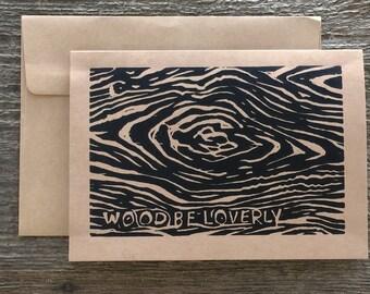 Wood Grain RSVP Note Card hand-made linocut artist print