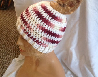 SALE - Berry Stripe Top knot/Messy Bun Hat