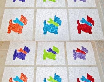 "Set of 12 Colorful Scottie Dog w/Bandana  6"" x 6""  Cotton Quilt Blocks"