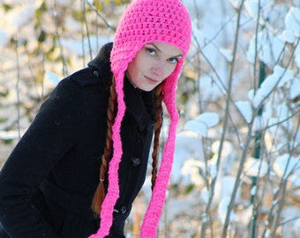 Hot Pink Long Ear Flap Hat Beanie Scarf Gifts for Her Stocking Stuffer Ready to  Ship