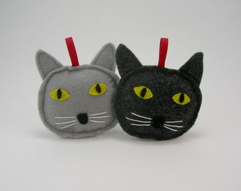 Gray Cat Christmas Ornament in Dark or Light // Holiday Ornament // Wonderful Gift for the Pet Lover