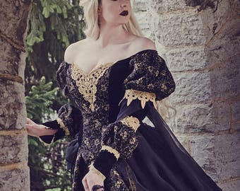 Black and Gold Gothic Sleeping Beauty Medieval Fantasy or Wedding Gown Custom Size
