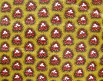 Vintage Cotton Fabric - Fifties Fabric - Small Floral Print in Burt Orange and Brown on Mustard Yellow / Glazed Cotton