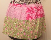Pink and Lime patchworked half apron