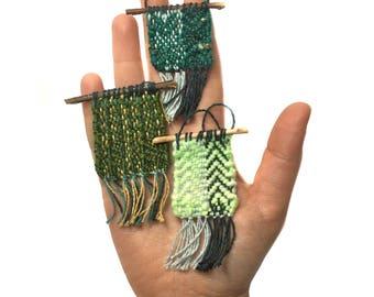 Green Woven Christmas Tapestry | Mini Woven Tree Ornament | Textile Wall Decor | Weaving Fabric Ornament | Handwoven Modern Boho Fiber Art