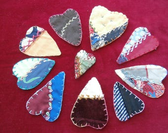 VINTAGE CRAZY QUILT Heart Lot of Ten with Embroidered finished Edges Four Lots