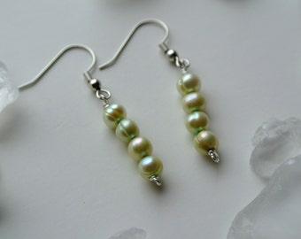 Sweet Pea Pale Green Pearl Dangle Earrings