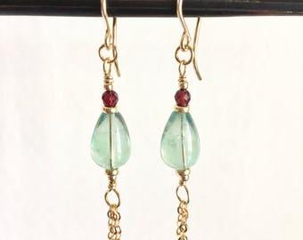Fluorite Drop Dangle Earrings In Gold