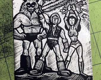 Thundarr the barbarian Scratchboard Art Card