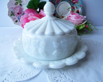 Vintage Milk Cheese Dish Westmoreland Paneled Grape