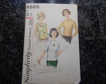Vintage simplicity 4523 misses' blouse pattern