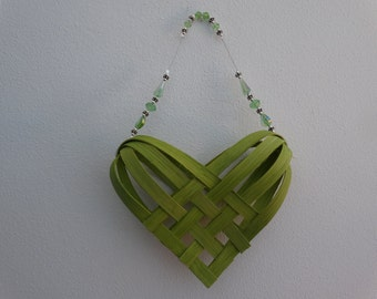 Hand Woven Basket in Chartreuse with Chartreuse beaded handle.  Heart Basket.  Gift Basket.  Hand made baskets in fun colors!