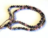 "Rhodonite 4mm Faceted Round Beads, 16"" Strand, Pink and Black Semi-Precious Beads, Jewelry Supplies"