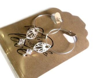 "Delicate Sterling Silver Swarovski Crystal Wing Hoop Pierced Dangle Earrings, 2"" Long, Gift for her"