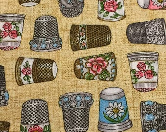 Dan Morris Thimble Pleasures 100% cotton fabric sold by the yard Quilting Treasures new & unwashed smoke and pet free