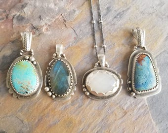 Rustic Sterling Silver and Gemstone Pendants