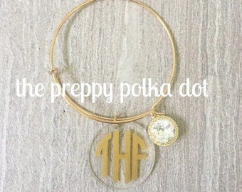 Wire Bangle Bracelet with Crystal and Monogram Charm