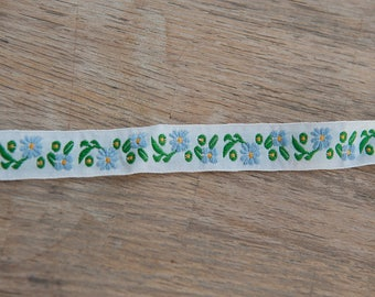 Floral Embroidered Vintage Trim- New Old Stock Blue Daisies Flowers Dolls