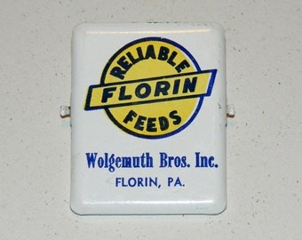 Vintage Advertising Reliable Florin Feeds Metal Large Paper Office Clip Wolgemuth Bros Mount Joy PA