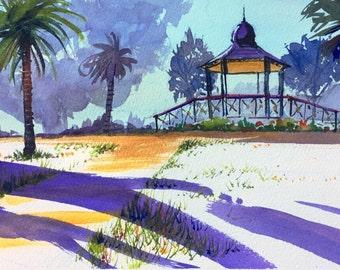 SALE - Purple landscape watercolour garden painting / wall art / interior design