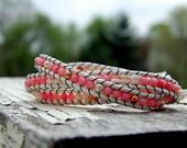 Coral and Shell Boho Wrap Bracelet