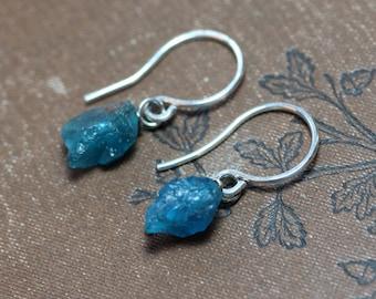 Sale Blue Apatite Earrings Teal Aqua Gemstone Earrings Rough Nugget Turquoise Blue Gemstone Earrings Rustic Sterling Silver