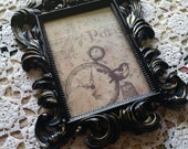 Vintage Inspired Picture Frame With Glass and Easel Back Paris Chic 5x7 Black Distressed and Gold Baroque Wedding Party Elegant Ornate Decor
