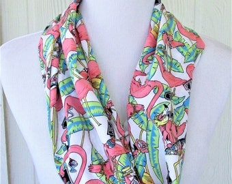 Flamingo Infinity Scarf, Tropical Poly Silk Scarf, Circle Scarf, Loop Scarf, Women's Novelty Fashion, Eclectasie