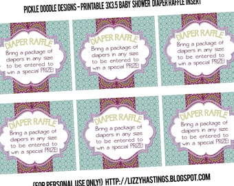 Diaper Raffle Insert Cards Purple Aqua Baby Shower matching, Printable INSTANT DOWNLOAD