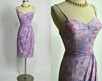 "Kahala 1950's Vintage Pink Purple Floral Print Hawaiian Sarong Dress 25""-27"" Waist Small Medium"
