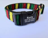 Rasta dog personalized collar Bob Marley Jamaican Style Hand Woven Yarn Dye Dog Identification  Red Yellow Green Black Made in USA