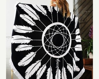 ON SALE The Dreamer round towel-  dream catcher round towel with tassel accent-  Towel / Throw / Yoga mat / Tapestry