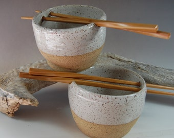 Pottery Rice Bowl Set, Noodle Bowl! Chopsticks Handmade Serving