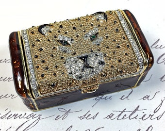 Vintage small trinket enamel rhinestone leopard head box green eye
