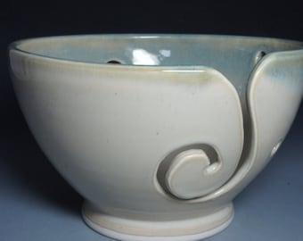 Hand Thrown Green and Cream Ceramic Yarn Bowl
