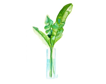 Banana Leaf Watercolor Art Print, Leaf Art, Botanical Print, Palm Leaf Wall Art, Home Decor, Coastal Decor, Giclee