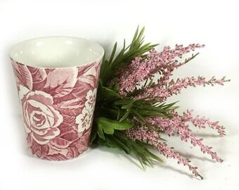 "Vintage Bathroom Tumbler / Cup, Pink Transferware, ""Victorian Chintz - Pink"", by Burleigh, Staffordshire, England"