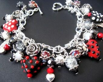 Valentine Heart Bracelet, Valentine Heart Jewelry, Lampwork Bead Jewelry, Lampwork Bead Bracelet, Polkadot Jewelry,Red Jewelry, Red Bracelet