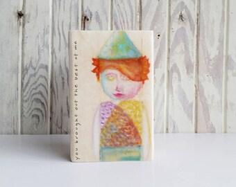 the best of me - original wood block portrait, teabag paper, oil pastel