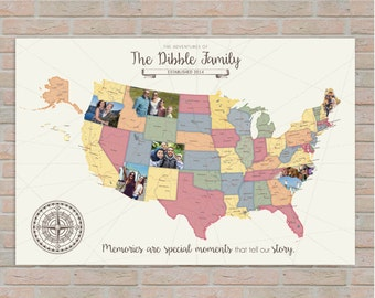 Photo map etsy road trip map usa map photo travel map custom photo map family gumiabroncs Image collections