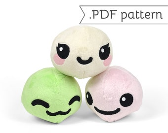 Mochi (Rice Dumpling) Plush with Animal Variations .pdf Sewing Pattern Fox Panda Alpaca Kitty Bunny