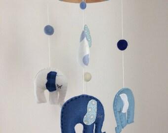 Blue & White Felt Elephant Crib Mobile