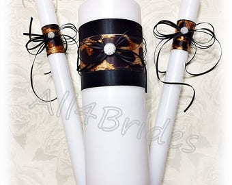 Leopard wedding unity candle set.  Leopard print and black wedding ceremony candles.